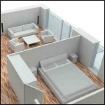 3D plan of bedroom and living area