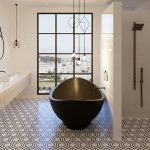 Industrial style bathroom with freestanding bathtub
