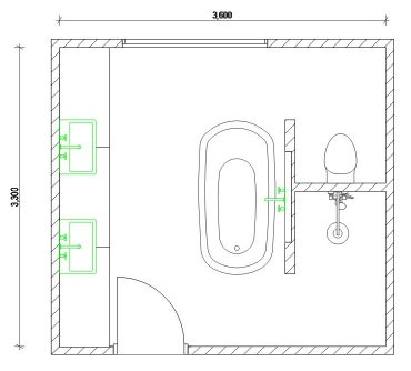 Floorplan showing bathroom layout