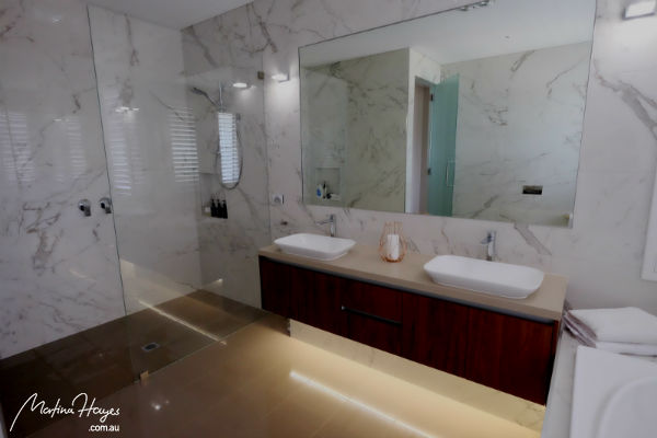 Contemporary new bathroom with double basin