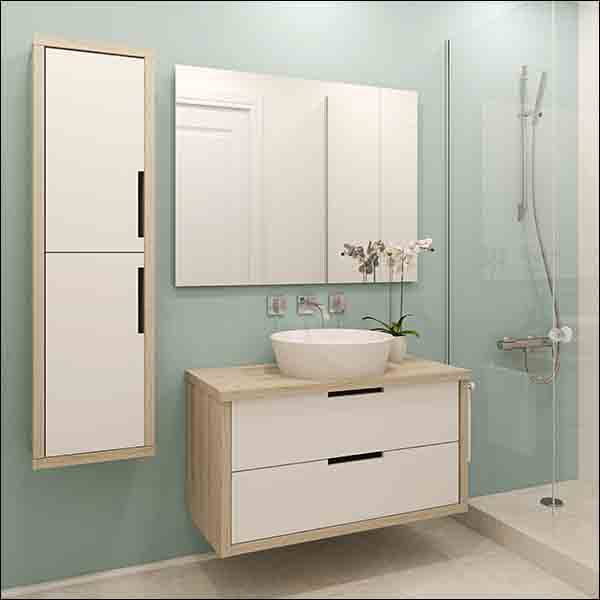 Comtemporary Bathroom with light timber and white cabinetry
