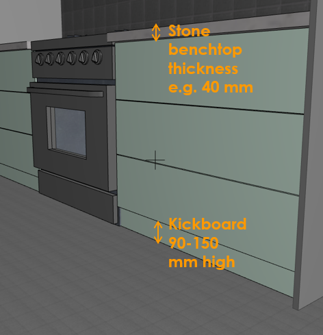 Kickboard height and stone benchtop thickness