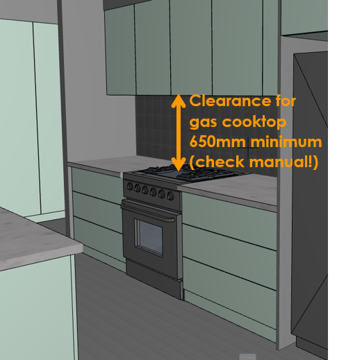 Clearance gas cooktop