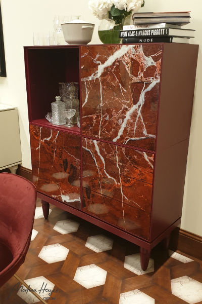 interior design trend: red marble side board
