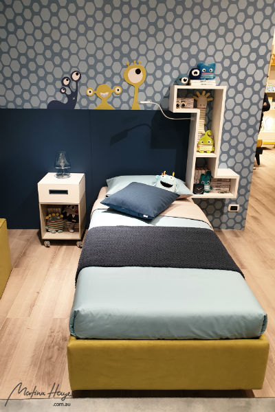 blue and yellow kids bedroom