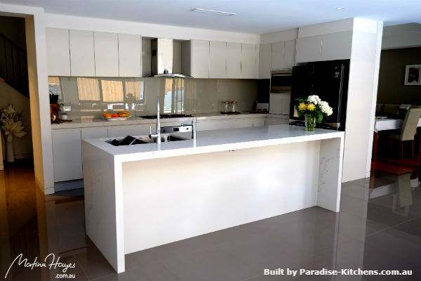 Contemporary white kitchen in a galley style