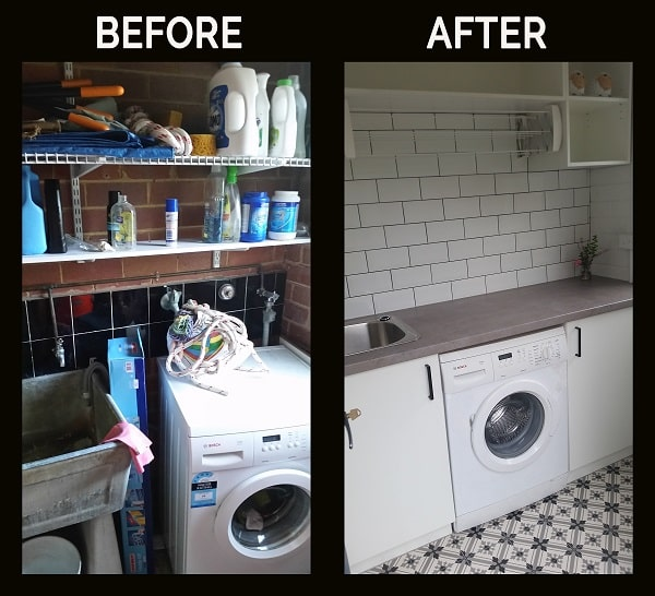 Laundry before and after renovation