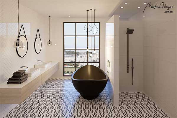 Industrial style bathroom with a black freestanding bathtub