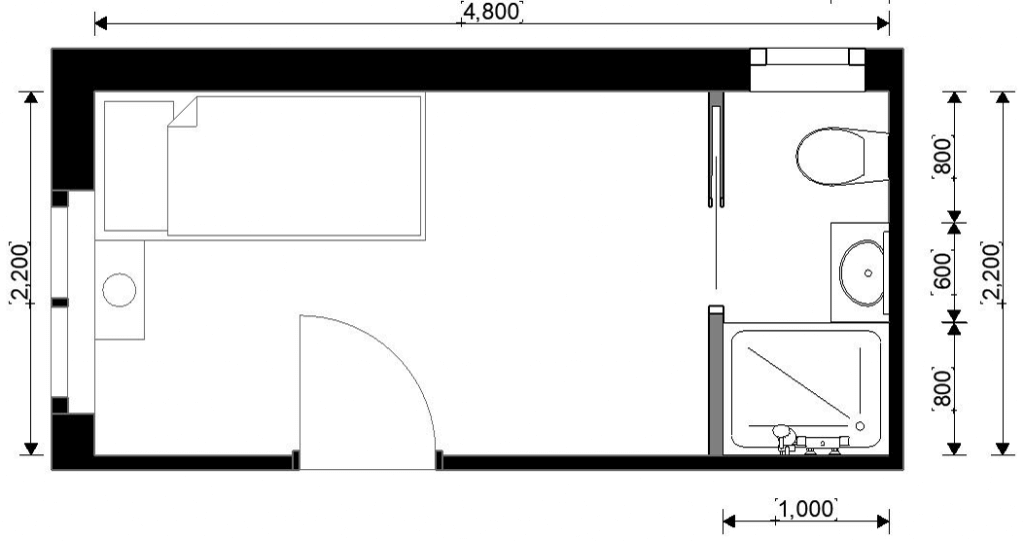 Floorplan of the bedroom and ensuite