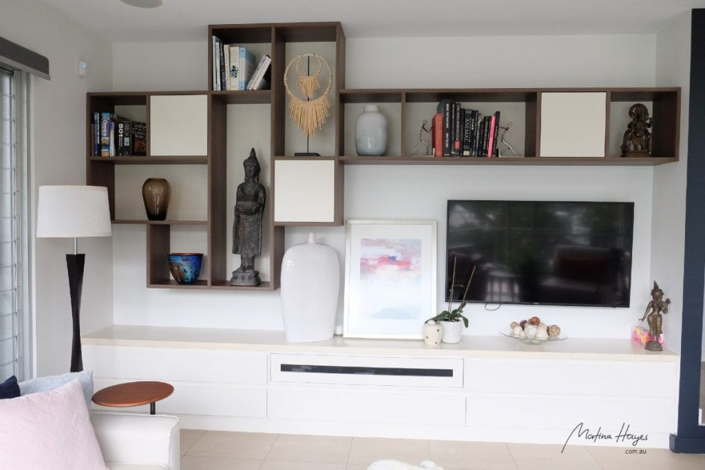 custom made cabinetry for media unit and aesthetic visual display Mosman